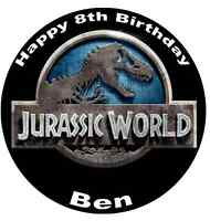 Jurassic World Park Personalised Cake Topper Edible Wafer Paper 7.5""