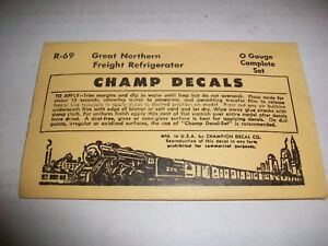 CHAMP DECALS O GAUGE.  R-69  - GREAT NORTHERN FREIGHT REFRIGERATOR