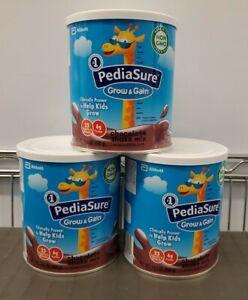 Lot of 3 PediaSure Grow & Gain Chocolate Shake Mix 14.1 oz Exp 09/2022  New