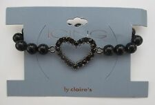 13cd Stretch black bead crystal heart BRACELET claire's jewelry