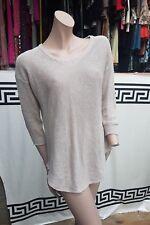 Lovely Ladies Mango fine knit jumper top  size S Loose Fit Beige 3/4 sleeves
