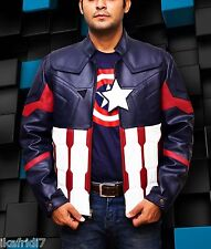 Captain America Civil War Biker Blue HandmadePU Leather Jacket size Smal-4XL Men