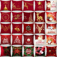 Red Merry Christmas Pillow Cases Cotton Sofa Cushion Cover Home Decor Bless Gift