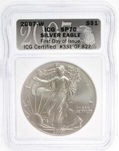$1 American Liberty Silver 2007 W Eagle 1 Oz Fine US Mint Coin ICG Sp 70