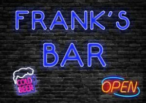 Personalised Cocktail Bar Metal Sign Neon Style Plaque Fun Alcohol Beer Garage