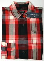 NWT $149 True Religion Red Plaid Long Sleeve Flannel Shirt Mens Loose Fit