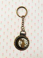 Alice In Wonderland Rabbit Watch Keyring / Bronze Hare