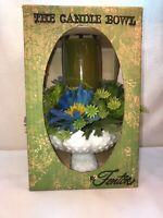 Vtg Fenton Milk Glass Hobnail Candle Bowl  Plastic Blue Flowers MIB Original Box