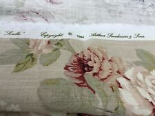 """SANDERSON CURTAIN FABRIC DESIGN """"Sorilla"""" 2.70MTRS BISCUIT AND CLARET 100% LINEN"""