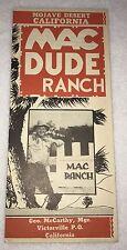 =Mac Dude Ranch 1940's Map Brochure Mojave Desert California