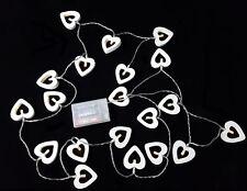 Holz Lichterkette mit 20 LED - Motiv: Herz - Herzen Lichterkette Batterie weiß