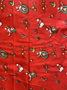 2 YDS Vintage Christmas Reindeer Heads Candles Bells on Red Cotton Fabric