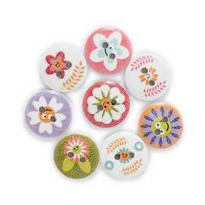 50pcs Flower Printing Wooden Buttons Scrapbooking Sewing Craft Making Decor 15mm