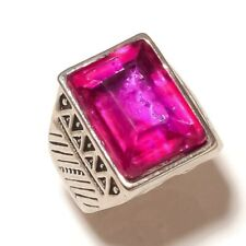 Lab Created Pink Quartz Gemstone Silver Overlay Handmade Vintage Ring US-10.25