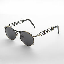 Vintage Steampunk Sunglasses Oval Lens Intricate Temple Antique Bronze -Cyrus
