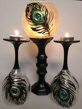 Tall Candles Holders Peacock feather Art Glass Vase Set Of 3 Gift Tea light