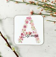 Personalised Floral Initial Wooden Drinks COaster Mat Birthday Gift Present