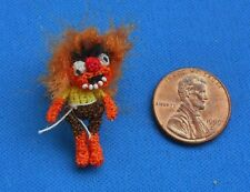 "Miniature Crochet Muppet Animal Doll Dollhouse  1:24 Artist 1 1/4"" tall doll toy"