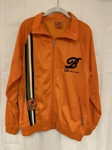 BKLYN XPRESS Mens Orange Green Black Logo Track Jacket Size M Medium