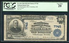 1902 $10 THE HUNTINGTON NATIONAL BANK OF COLUMBUS, OH CH. #7745 PCGS VF-20