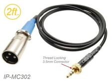 2ft 3.5mm TRS Locking Male to XLR 3-Pin Male Cable for Sennheiser/Sony Mic Syst.