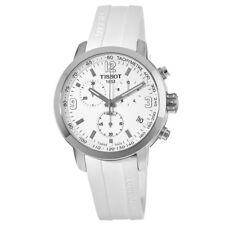 New Tissot PRC 200 Chronograph White Rubber Strap Men's Watch T055.417.17.017.00