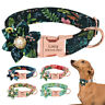 Fashion Flower Personalised Cat Dog Collars Pet Puppy Metal ID Name Tags S M L