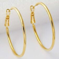 """Pretty Classic New Yellow Gold Plated Smooth & Shiny 1.4"""" Round Hoop Earrings"""