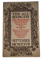 THE ALL-SEEING EYE, MANLY P HALL, VOLUME 4, No 5, 1927, OCCULT, MAGIC, MYSTICISM