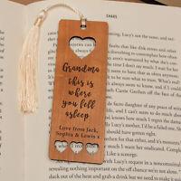 Personalised Wooden Bookmark - Fell Asleep - Heart Bookmark - Mum Grandma Gift