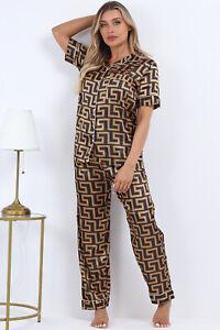 New Womens Printed SATIN PJ Set Button Up Ladies Pyjamas Nightwear Set Size 6-16