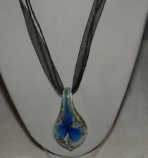 MURANO GLASS LEAF AND FLORAL PENDANT SILK AND ROPE NECKLACE-FANCY-