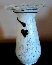 Hand Blown Swirl Art Glass Vase White Mottled w/ Applied Amethyst String Detail