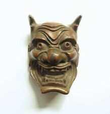 Japanese Antique Bronze MASK Hannya Samurai Kabuki Oni Evil Devil Demon Netsuke