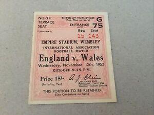 Ticket: 1952 England v Wales.  @ Wembley.    excellent