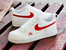 Nike Air Force 1 07 LV8 Mens White Red Sneaker Shoe Trainer All Sizes