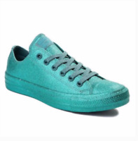 New Women's Converse CTAS OX Glitter Bling Sneakers Teal Size 6 7 8 9 10