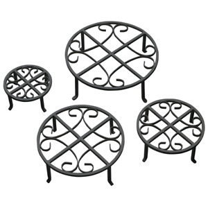 Black Iron Plant Stand Set of 4 Heavy Duty Powder Coated Indoor Outdoor Stands