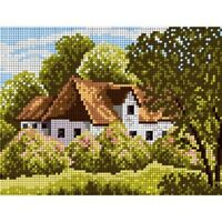TAPESTRY CANVAS Forestry Hut 18x24cm 1970