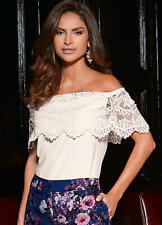 White Crepe Bardot Off the shoulder top with Deep Lace Border Band Size 10