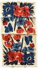 Vintage Vera Neumann Linen Kitchen Tea Towel Blue Red Flowers Butterflies