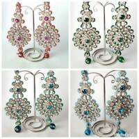 Large 13cm Long Diamante Indian Bollywood Style Earrings in Different Colours