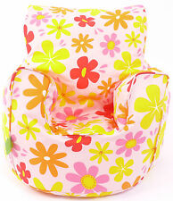 Cotton Summer Flowers Bean Bag Arm Chair with Beans Toddler Size From BeanLazy