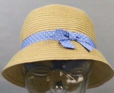 NWT Woven Periwinkle Blue dot Bow Straw Hat Gymboree Girls Size 12 - 24 Months
