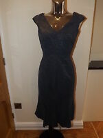 NEXT DARK BLUE GREY LACE EFFECT WIGGLE DRESS SIZE 8 LADIES BNWT RP £70