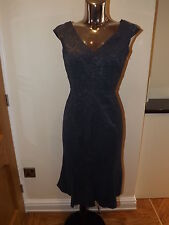 NEXT DARK BLUE GREY LACE EFFECT WIGGLE DRESS SIZE 8 LADIES BNWT RP £70