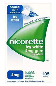 4 Packs of Nicorette Icy White 4mg Gum Nicotine 105 Pieces  Expiry 01/2023