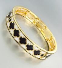 CLASSIC Designer Black White Lacquer Enamel Clover Clovers Gold Stretch Bracelet