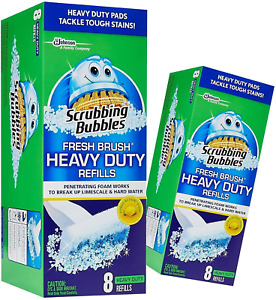(2 Pack) Scrubbing Bubbles Fresh Brush HEAVY DUTY Refills 8 ct. Ea. Stains New