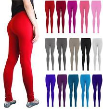 NEW WOMEN GIRLS PLAIN LEGGINGS FULL LENGTH ELASTICATED WAIST TROUSER SIZES 8-26